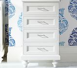 Stuart Wood Bath Floor Cabinet with Drawers, White