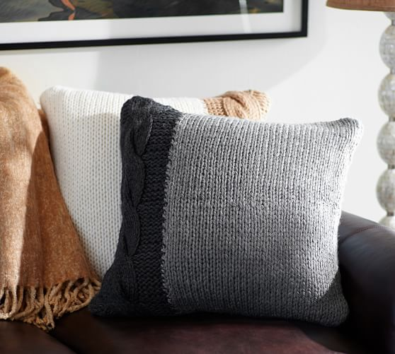 tonal cable knit pillow cover 24 light gray charcoal pottery barn. Black Bedroom Furniture Sets. Home Design Ideas