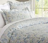 Jessie Organic Duvet Cover, Full/Queen, Blue Multi
