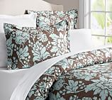 Dorothea Organic Floral Duvet Cover, Twin, Blue