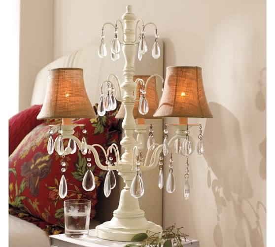 Stella Crystal Chandelier Lamp, Antique White
