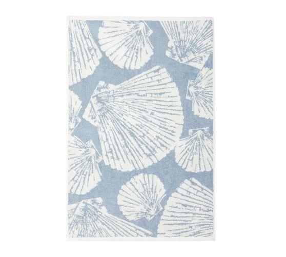 Shell Jacquard Hand Towel, Opal Blue