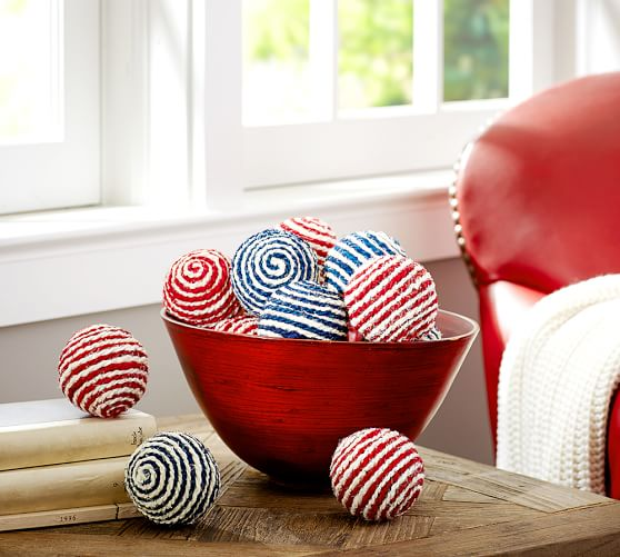 Striped Sphere Vase Filler, Red