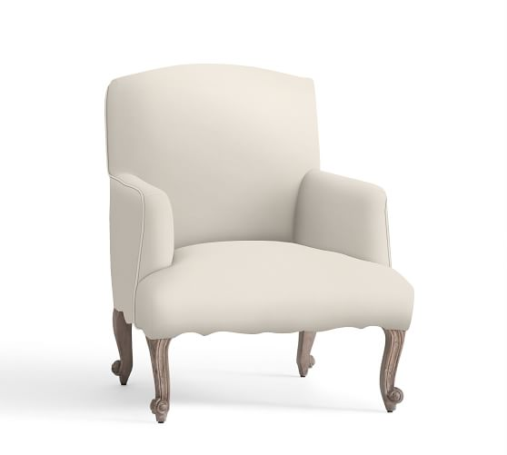 Lincoln Upholstered Armchair, Polyester Wrapped Cushions, Organic Cotton Canvas Natural