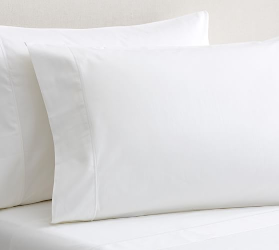 PB Organic Cotton 350-Thread-Count Sateen Extra Pillowcases, Set of 2, Standard, White