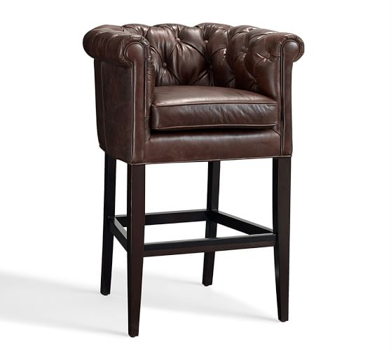 Chesterfield Leather Barstool, Bar Height, Cocoa