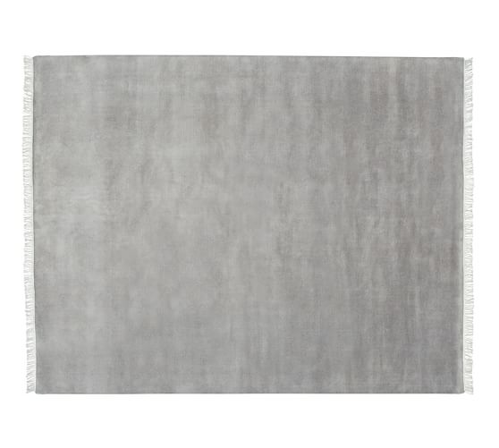Fringed Hand-Loomed Wool Rug, 5x8', Heathered Gray
