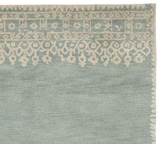 Desa Bordered Wool Rug Swatch, Blue