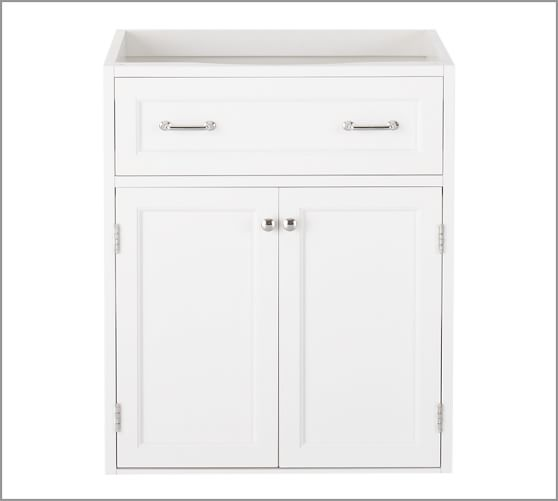 Modular Classic Sink Console with Wood Cabinet Doors & Chrome-finished Hardware, white