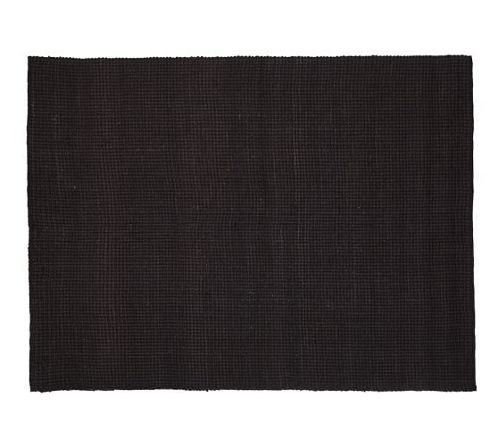 Mason Boucle Jute Rug, 5x8', Black