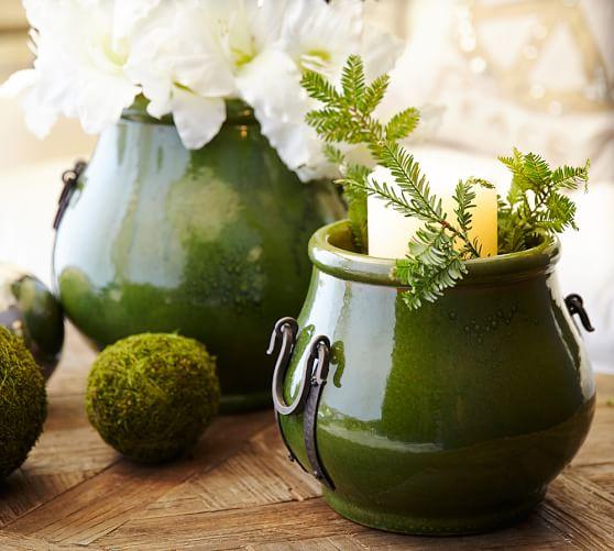 Marlowe Terra Cotta & Wrought Iron Vase, Large, Green