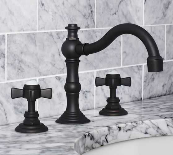 Langford Cross-Handle Widespread Bathroom Faucet, Antique Bronze Finish