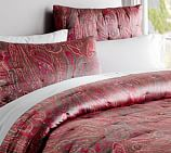 Scarlet Paisley Silk/Cotton Quilt, Full/Queen, Red