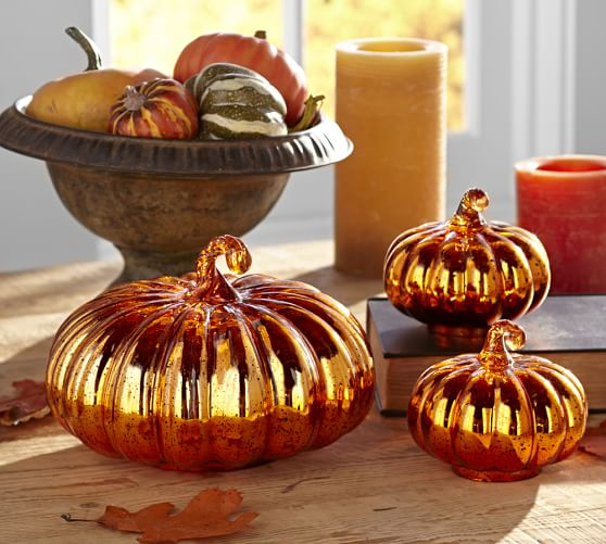 Halloween Orange Mercury Glass Pumpkin, Small