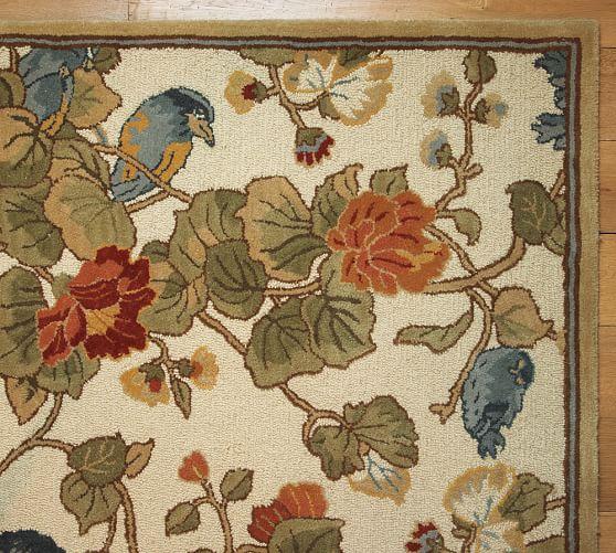 Bird Floral Rug, 3x5'