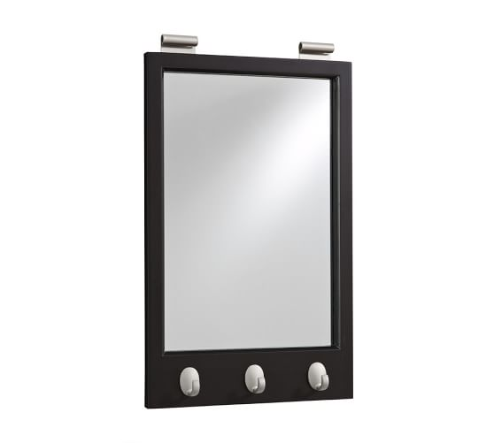 Daily System Framed Mirror with Hooks, Black