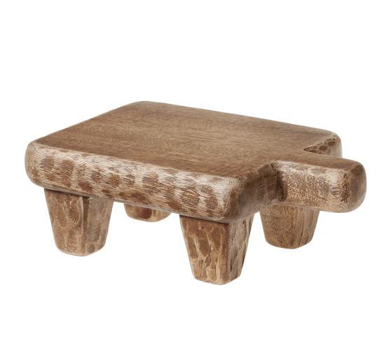 Blond Wood Paddle Pedestal, Mini