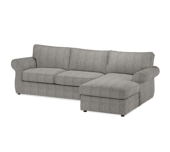 Pearce upholstered sofa with chaise sectional pottery barn for Albany sahara sectional sofa chaise