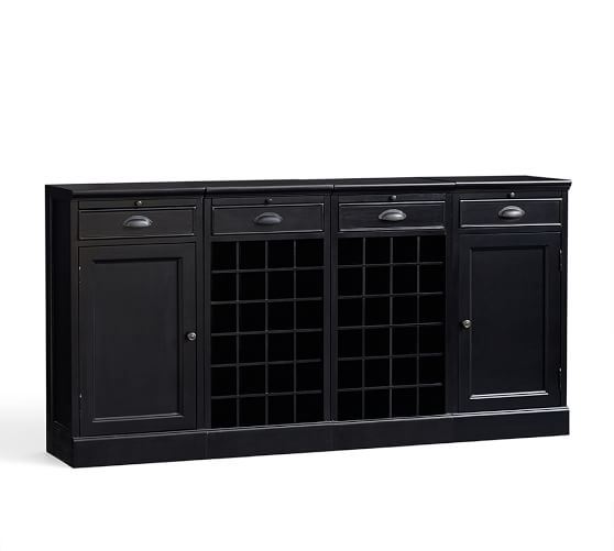 4-Piece Modular Bar Buffet (2 wine grid bases & 2 wood door cabinet base), Black