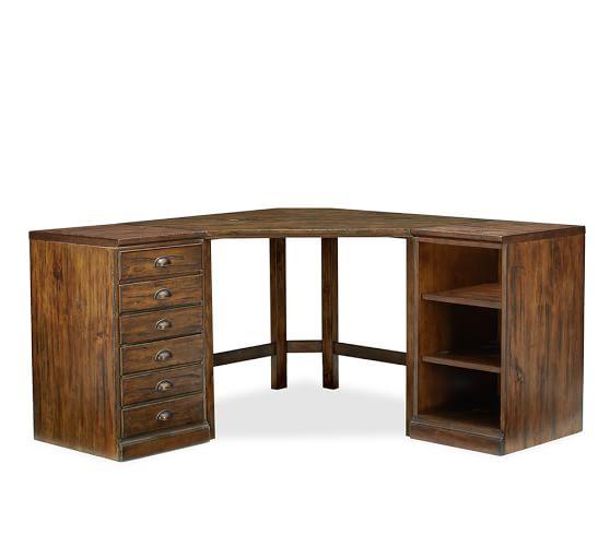 Printer's Corner Desk Set (includes Corner Desk,1 3-drawer File Pedestal, 1 Bookcase Pedestal, 2 single Tops), Tuscan Chestnut