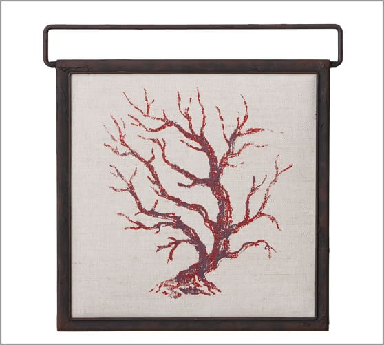 Painted Coral Branch Square Panel, 17.5 x 18