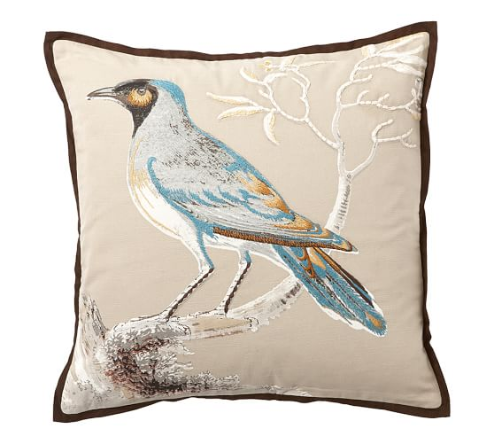 Pottery Barn Bird Pillow: Scientific Bird Embroidered Pillow Covers