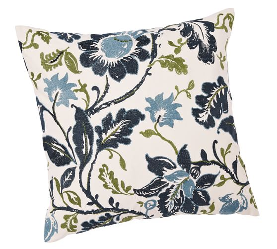 Annabelle Vine Floral Embroidered Pillow Cover, 24