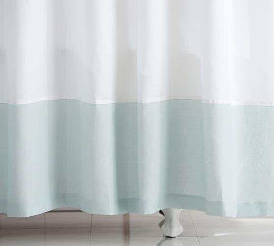 Linen Banded Shower Curtain, Porcelain Blue