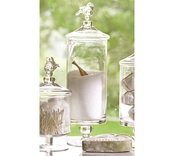 bird glass canister large pottery barn
