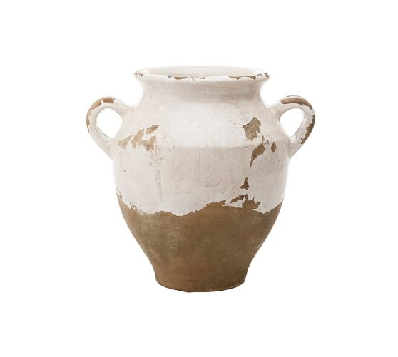 Tuscan Terra Cotta Vase, Small Double-Handled Urn