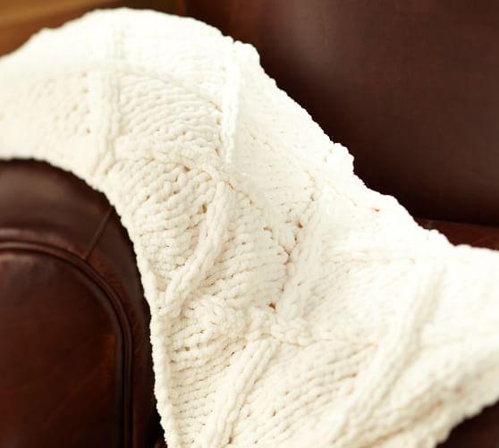 Diamond Hand-Knit Throw, Ivory