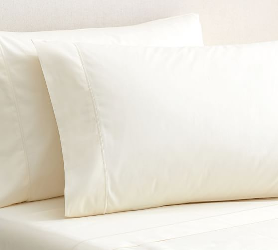 PB Organic Cotton 350-Thread-Count Sateen Extra Pillowcases, Set of 2, Standard, Ivory