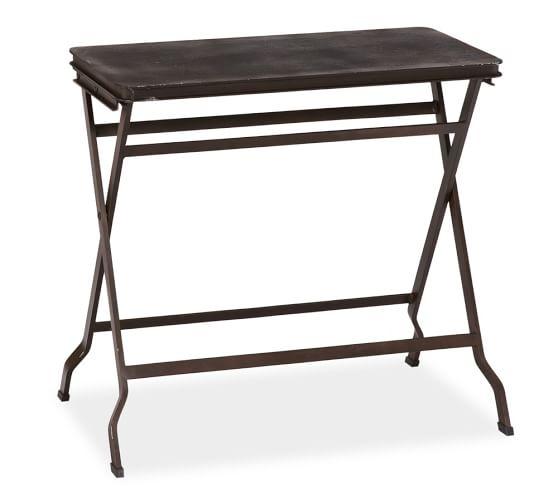 Carter Metal Folding Tray Table, Black