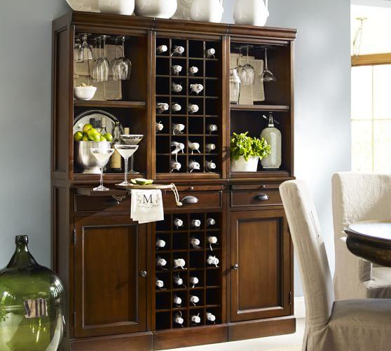 6-Piece Modular Wall Unit (2 wood door cabinet & 1 wine grid base, 2 open & 1 wine grid hutch), Mahogany stain