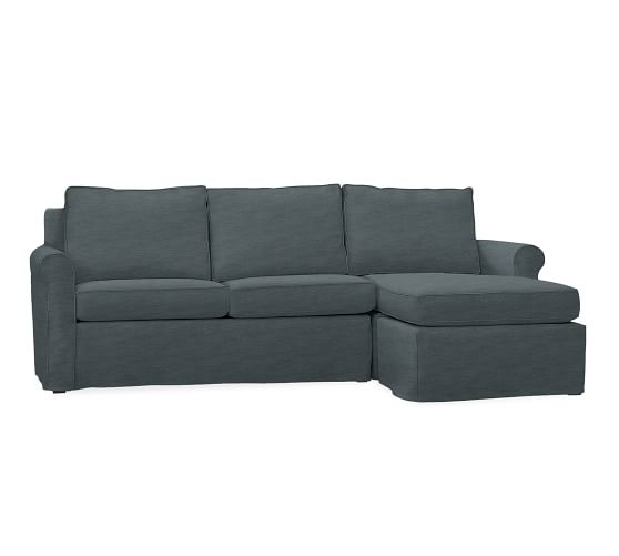 Pottery Barn Denim Sofa: Cameron Roll Arm Sofa With Chaise Slipcover, Denim Washed