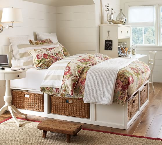 Stratton Storage Bed with Baskets, Full/Queen, Pure White