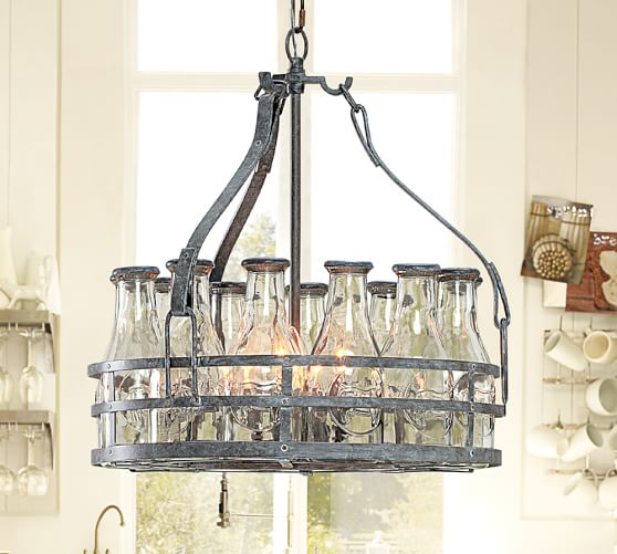 Pottery Barn Chandelier Wiring Instructions: Milk Bottle Chandelier
