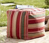 Hermosa Stripe Recycled Yarn Indoor/Outdoor Cube Cover with Water Repellent Insert 18
