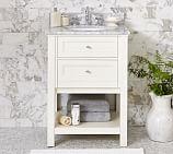 Classic Sink Mini Console, White, Carrara Marble & Chrome Finish Knobs