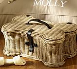 Pet Woven Rattan Bone Toy Basket, Small