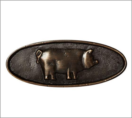 Farmhouse Pig Pull, Antique Bronze finish
