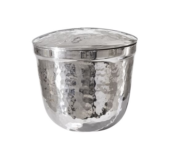 Hammered Nickel Canister, Small, Polished Nickel finish