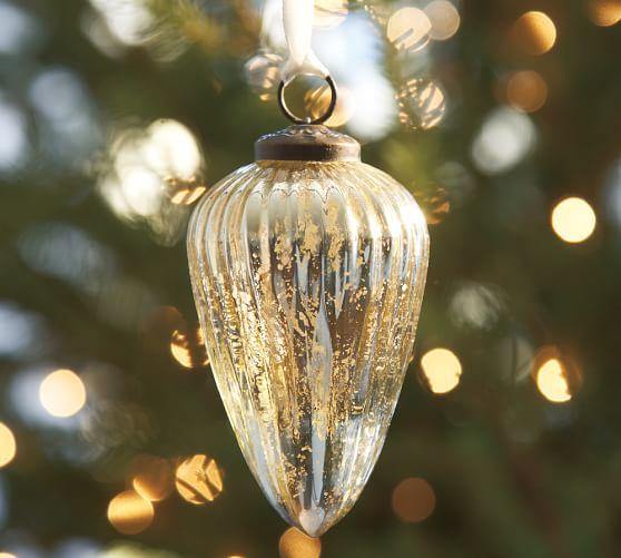 Silver Fluted Mercury Drop Ornament