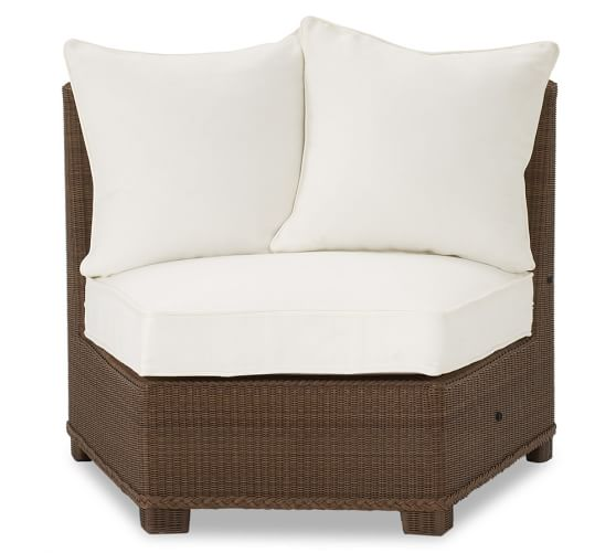 Palmetto All-Weather Wicker Rounded Armless Chair, Honey