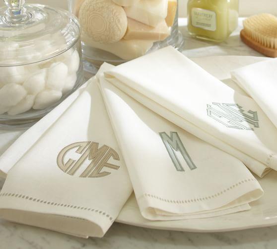 Linen Hemstitch Guest Towels, Set of 2, White with Porcelain Blue Applique