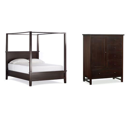 Farmhouse Canopy Bed & Chifforobe, Queen, Espresso stain