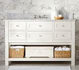 Classic Single Wide Sink Console, White, Carrara Marble & Chrome Finish Knobs