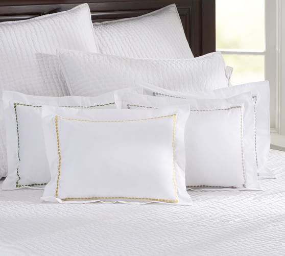 Pearl Embroidered Boudoir Pillow Cover, 12 x 16