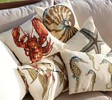 Sea-Life Outdoor Pillows, Set of 3, one of each style Blue