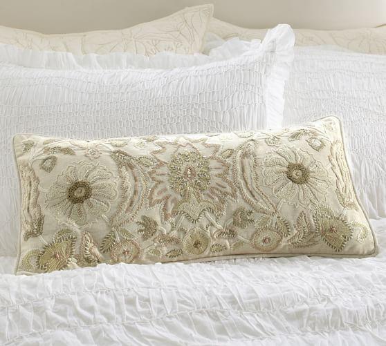 Melinda Suzani Embroidered Lumbar Pillow Cover, 12 x 24